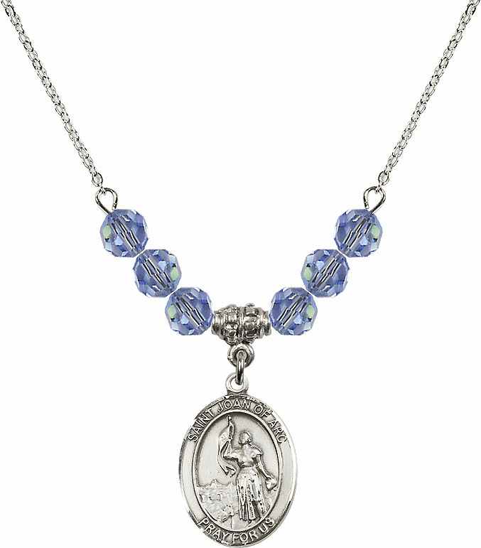 St Joan of Arc Swarovski Crystal Beaded Patron Saint Necklace by Bliss Mfg