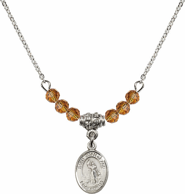 St Joan of Arc Topaz Swarovski Beaded Necklace by Bliss Mfg