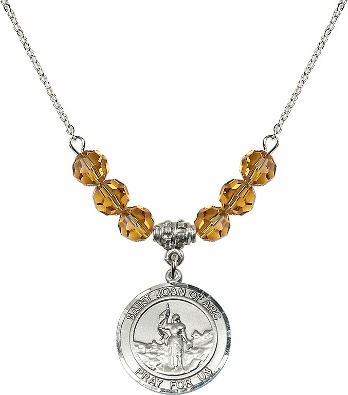 St Joan of Arc Topaz Swarovski Necklace by Bliss Mfg