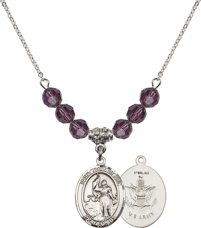 St Joan of Army Amethyst Swarovski Necklace by Bliss Mfg