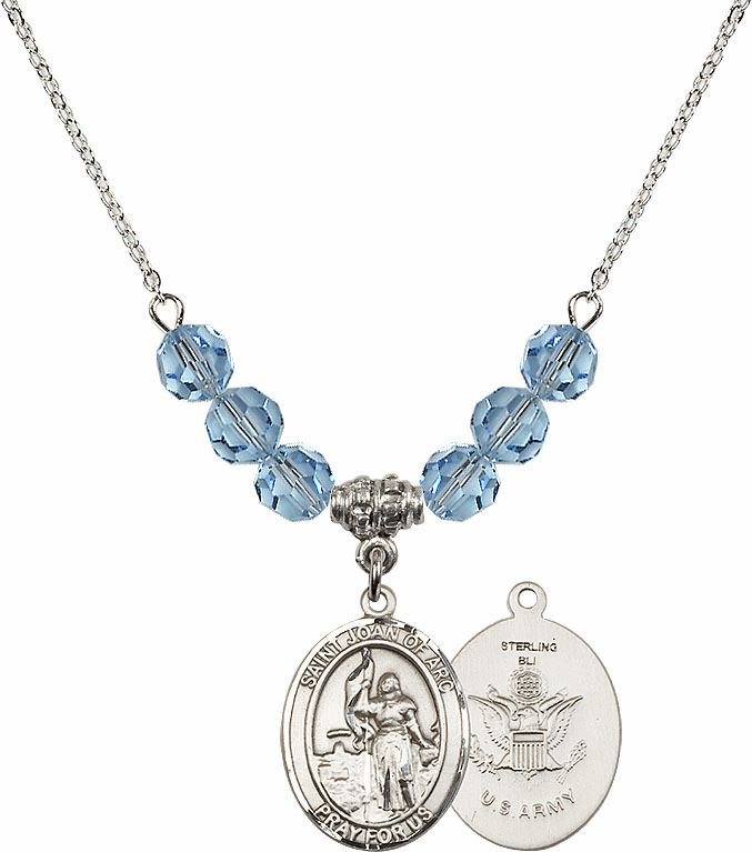 St Joan of Army Aqua Swarovski Necklace by Bliss Mfg