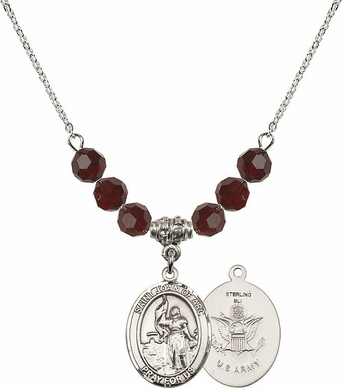 St Joan of Army Garnet Swarovski Necklace by Bliss Mfg