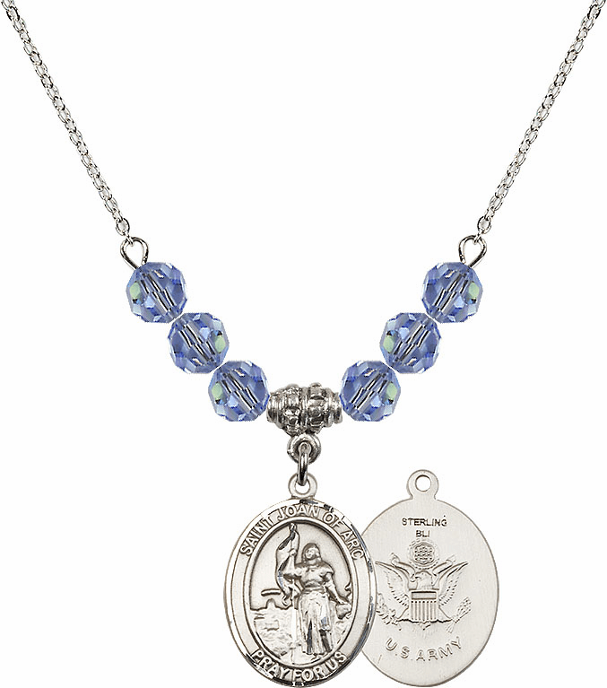 St Joan of Army Lt Sapphire Swarovski Necklace by Bliss Mfg