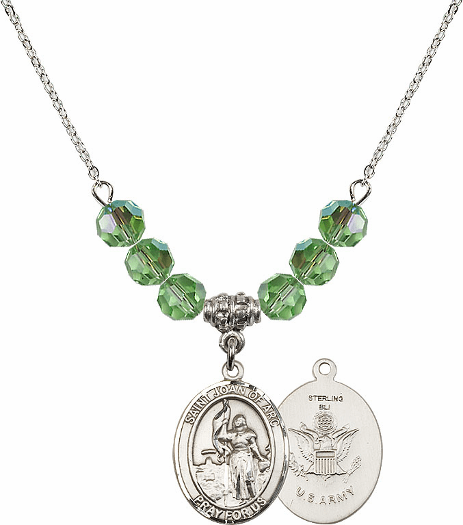 St Joan of Army Peridot Swarovski Necklace by Bliss Mfg