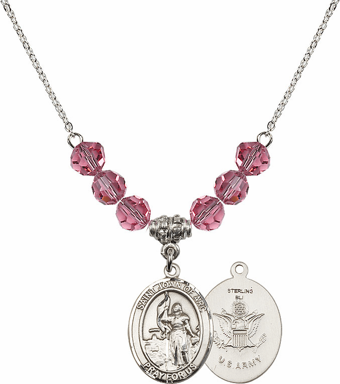 St Joan of Army Rose Swarovski Necklace by Bliss Mfg