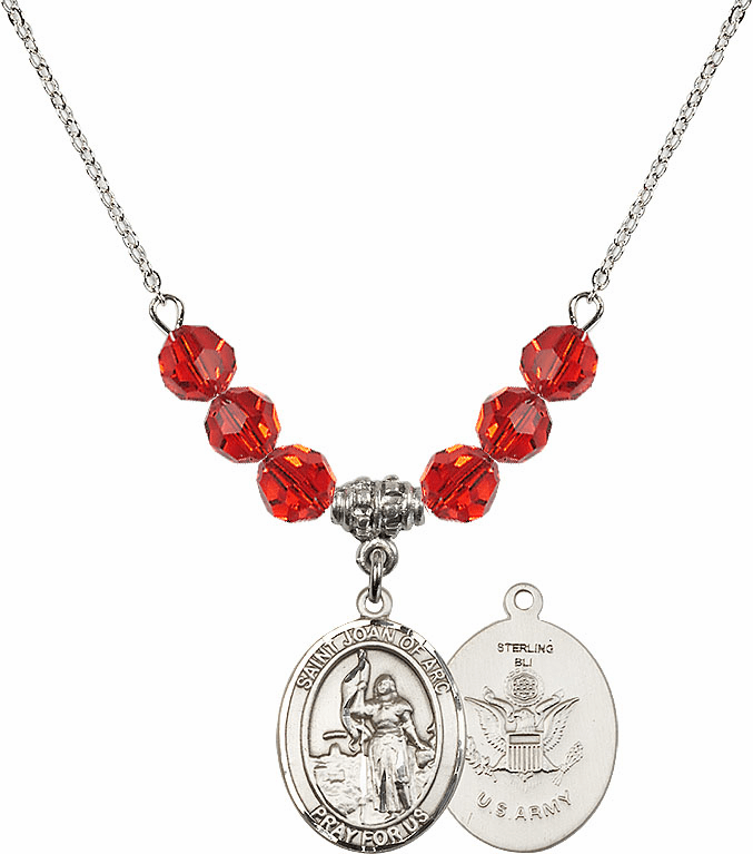 St Joan of Army Ruby Swarovski Necklace by Bliss Mfg
