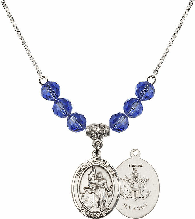 St Joan of Army Sapphire Swarovski Necklace by Bliss Mfg