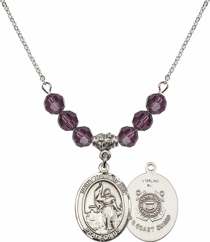 St Joan of Coast Guard Amethyst Swarovski Necklace by Bliss Mfg