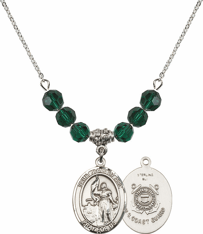 St Joan of Coast Guard Emerald Swarovski Necklace by Bliss Mfg