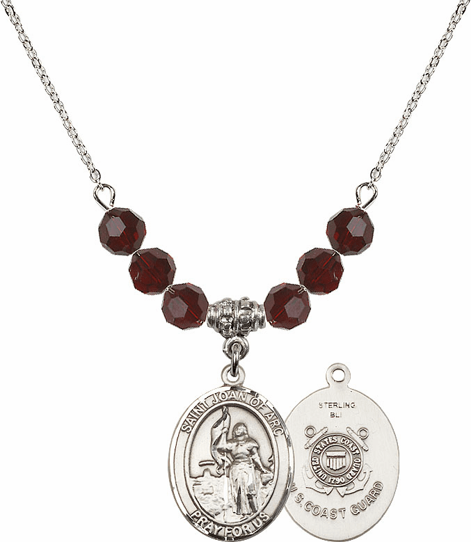 St Joan of Coast Guard Garnet Swarovski Necklace by Bliss Mfg