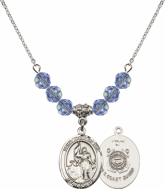 St Joan of Coast Guard Lt Sapphire Swarovski Necklace by Bliss Mfg