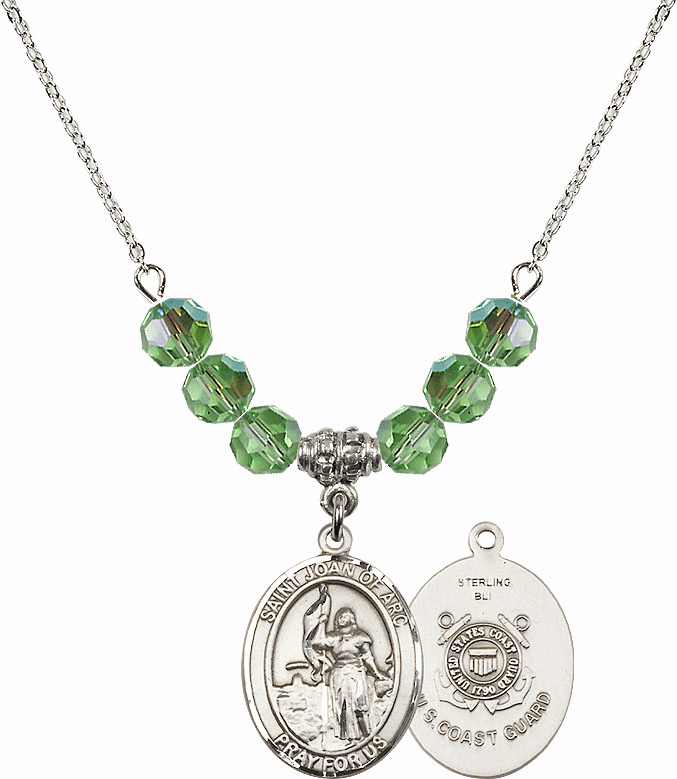 St Joan of Coast Guard Peridot Swarovski Necklace by Bliss Mfg