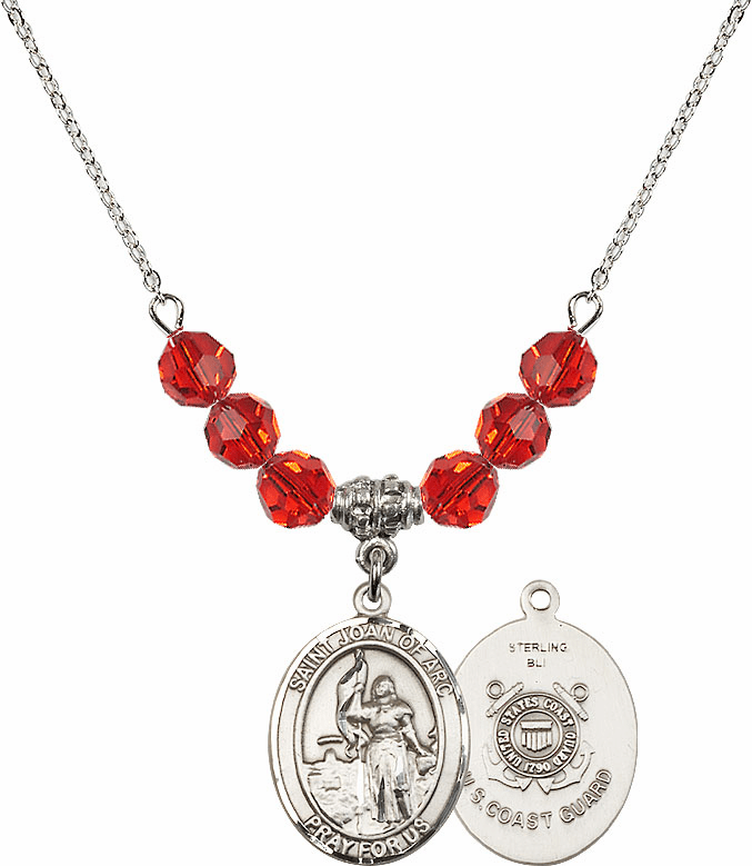 St Joan of Coast Guard Ruby Swarovski Necklace by Bliss Mfg