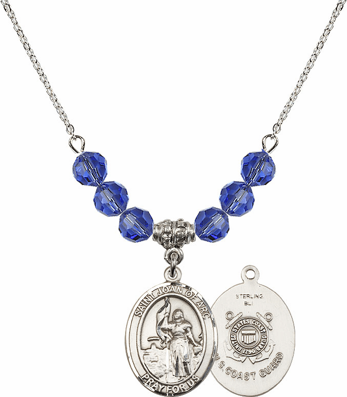 St Joan of Coast Guard Sapphire Swarovski Necklace by Bliss Mfg