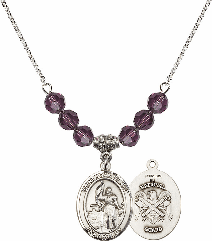 St Joan of National Guard Amethyst Swarovski Necklace by Bliss Mfg