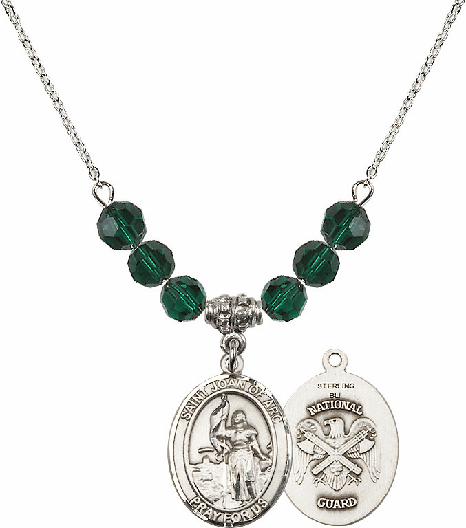 St Joan of National Guard Emerald Swarovski Necklace by Bliss Mfg