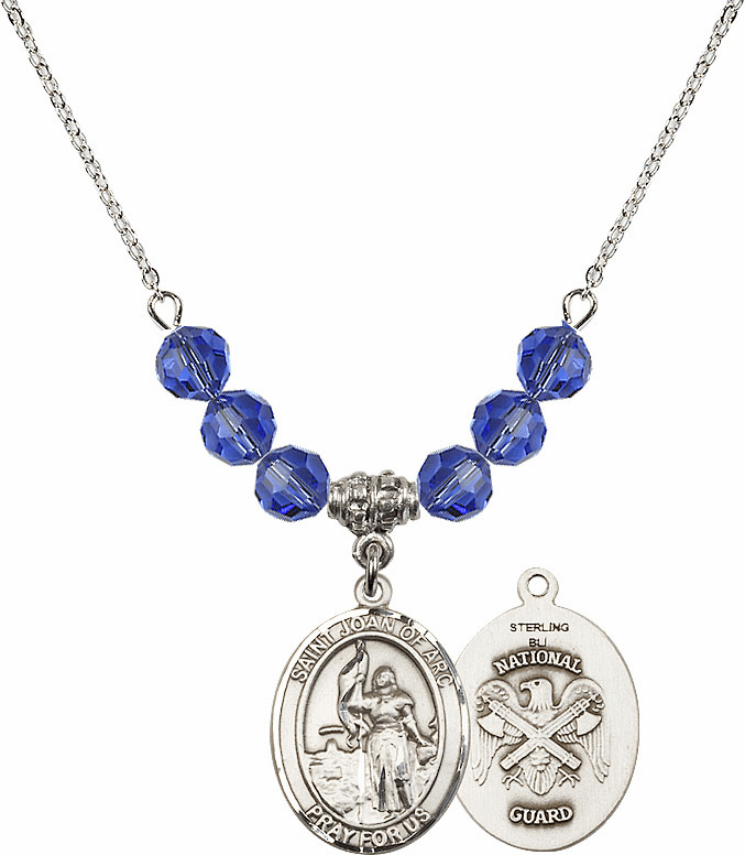 St Joan of National Guard Sapphire Swarovski Necklace by Bliss Mfg