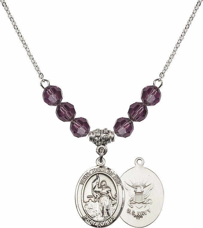 St Joan of Navy Amethyst Swarovski Necklace by Bliss Mfg