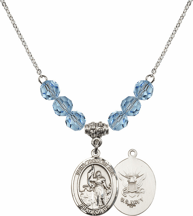 St Joan of Navy Aqua Swarovski Necklace by Bliss Mfg
