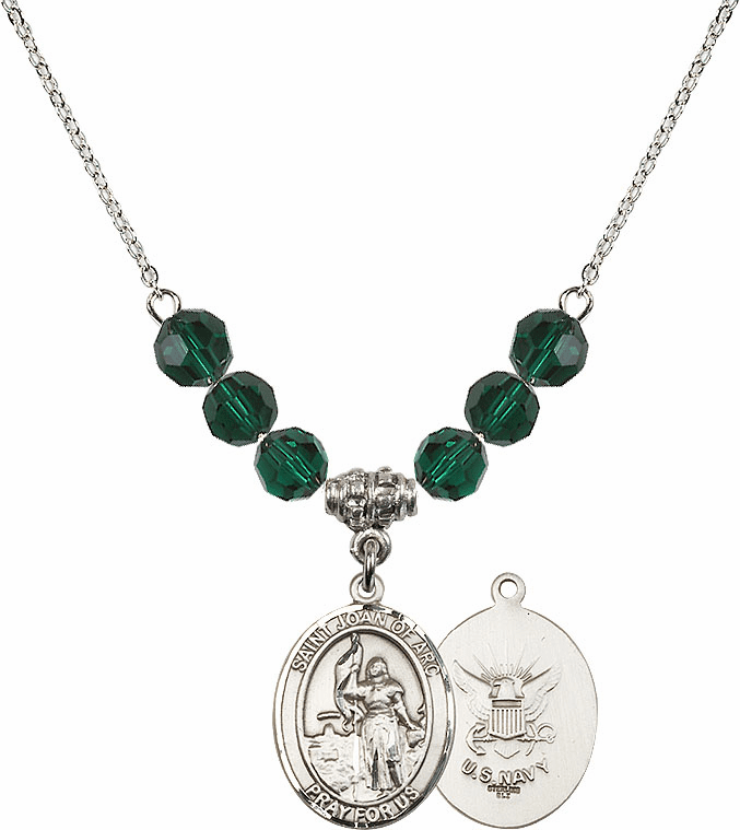St Joan of Navy Emerald Swarovski Necklace by Bliss Mfg