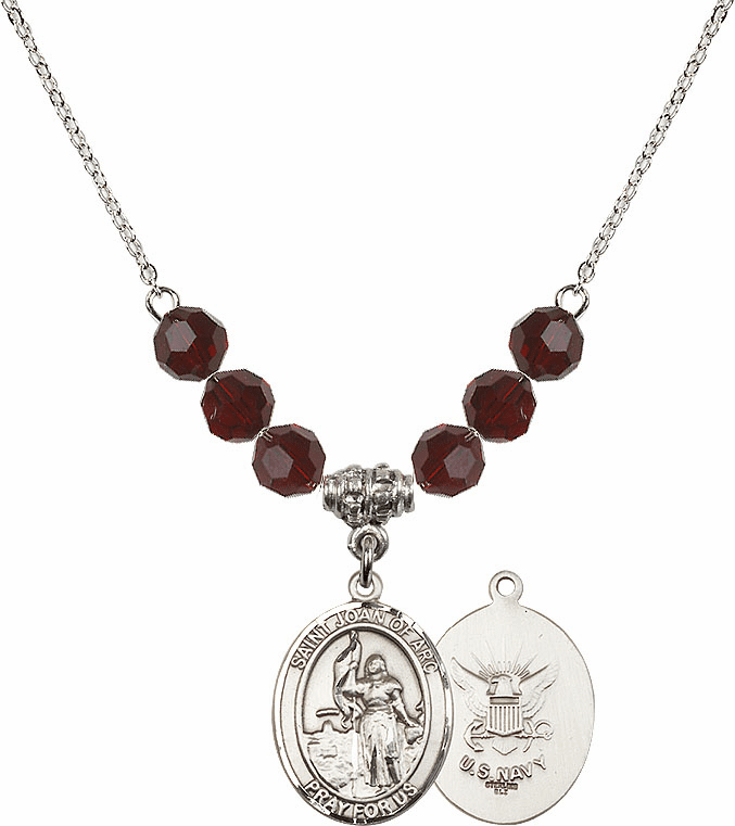St Joan of Navy Garnet Swarovski Necklace by Bliss Mfg