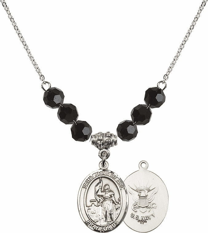 St Joan of Navy Jet Black Swarovski Necklace by Bliss Mfg