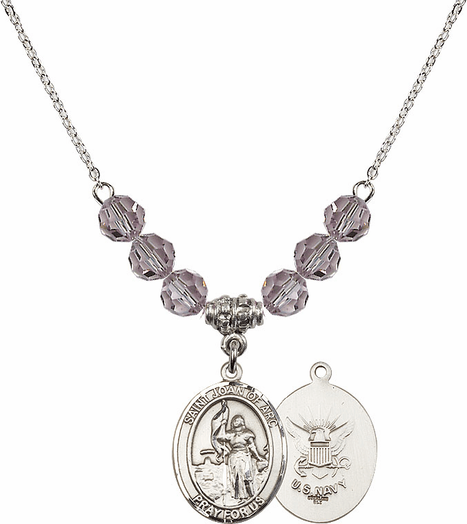 St Joan of Navy Lt Amethyst Swarovski Necklace by Bliss Mfg