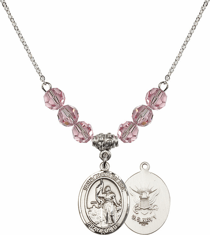 St Joan of Navy Lt Rose Swarovski Necklace by Bliss Mfg