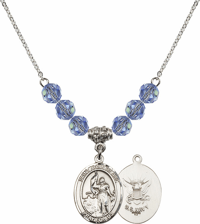 St Joan of Navy Lt Sapphire Swarovski Necklace by Bliss Mfg