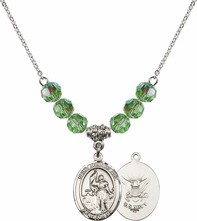 St Joan of Navy Peridot Swarovski Necklace by Bliss Mfg