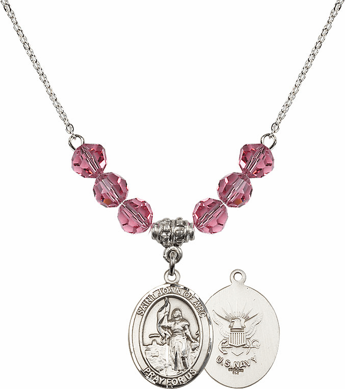 St Joan of Navy Rose Swarovski Necklace by Bliss Mfg