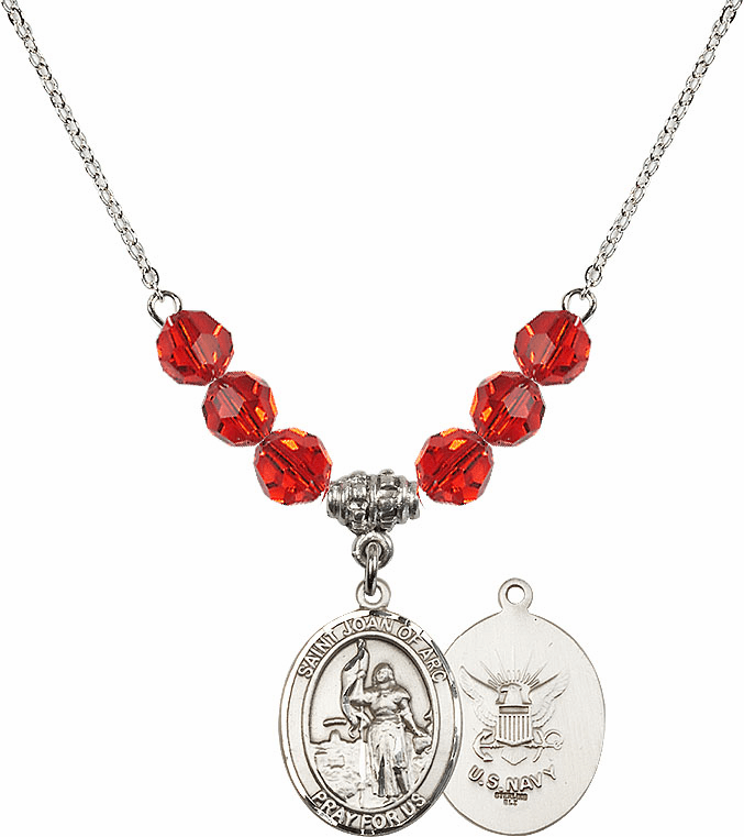 St Joan of Navy Ruby Swarovski Necklace by Bliss Mfg
