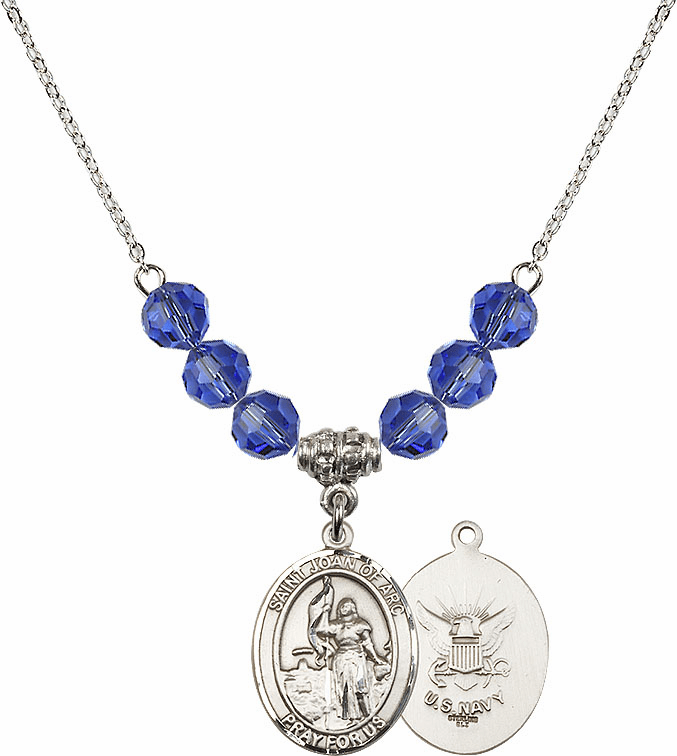 St Joan of Navy Sapphire Swarovski Necklace by Bliss Mfg