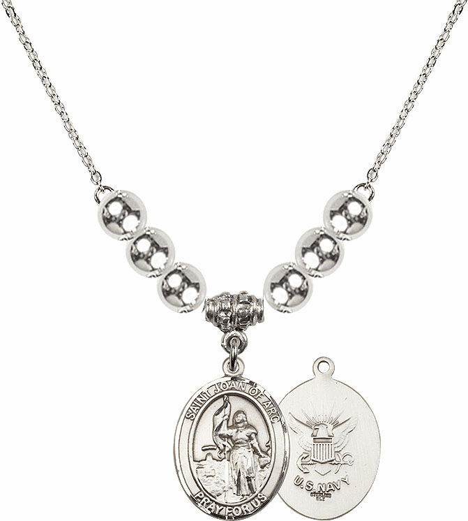 St Joan of Navy Silver Necklace by Bliss Mfg