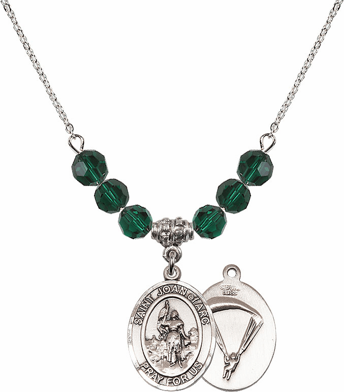 St Joan of Paratrooper Emerald Swarovski Necklace by Bliss Mfg