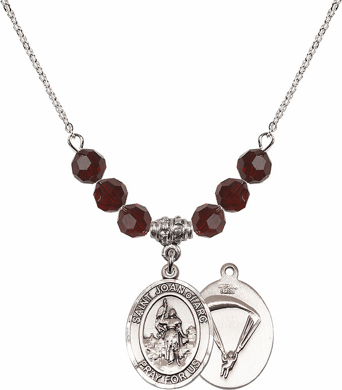 St Joan of Paratrooper Garnet Swarovski Necklace by Bliss Mfg