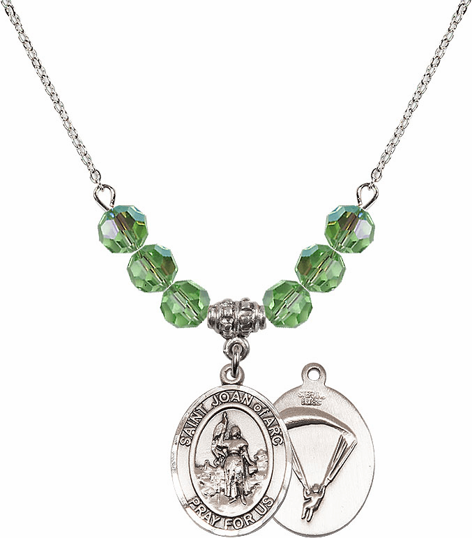 St Joan of Paratrooper Peridot Swarovski Necklace by Bliss Mfg