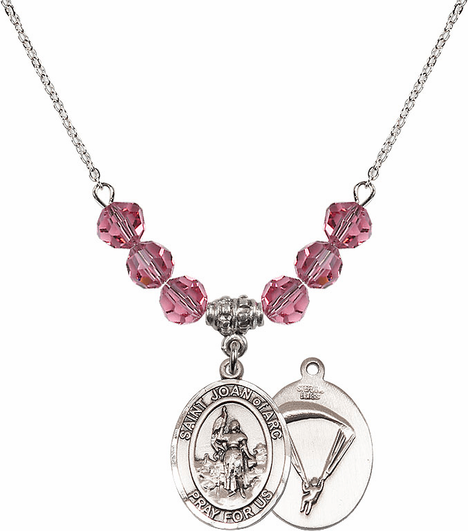 St Joan of Paratrooper Rose Swarovski Necklace by Bliss Mfg