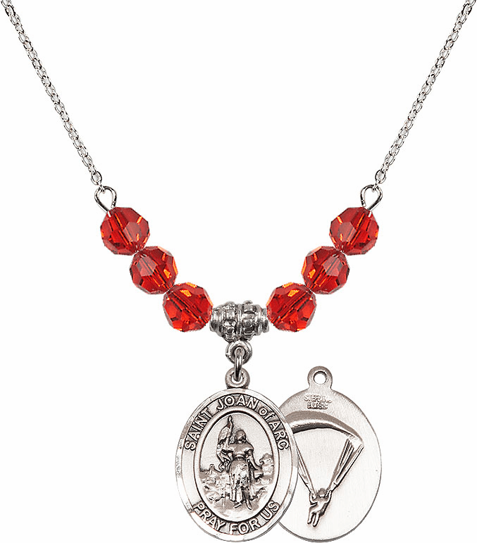 St Joan of Paratrooper Ruby Swarovski Necklace by Bliss Mfg