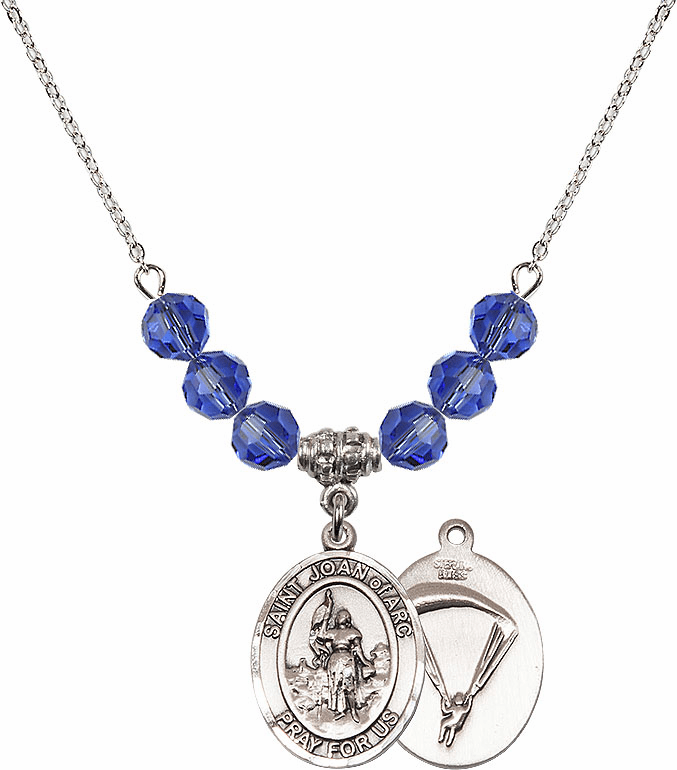 St Joan of Paratrooper Sapphire Swarovski Necklace by Bliss Mfg