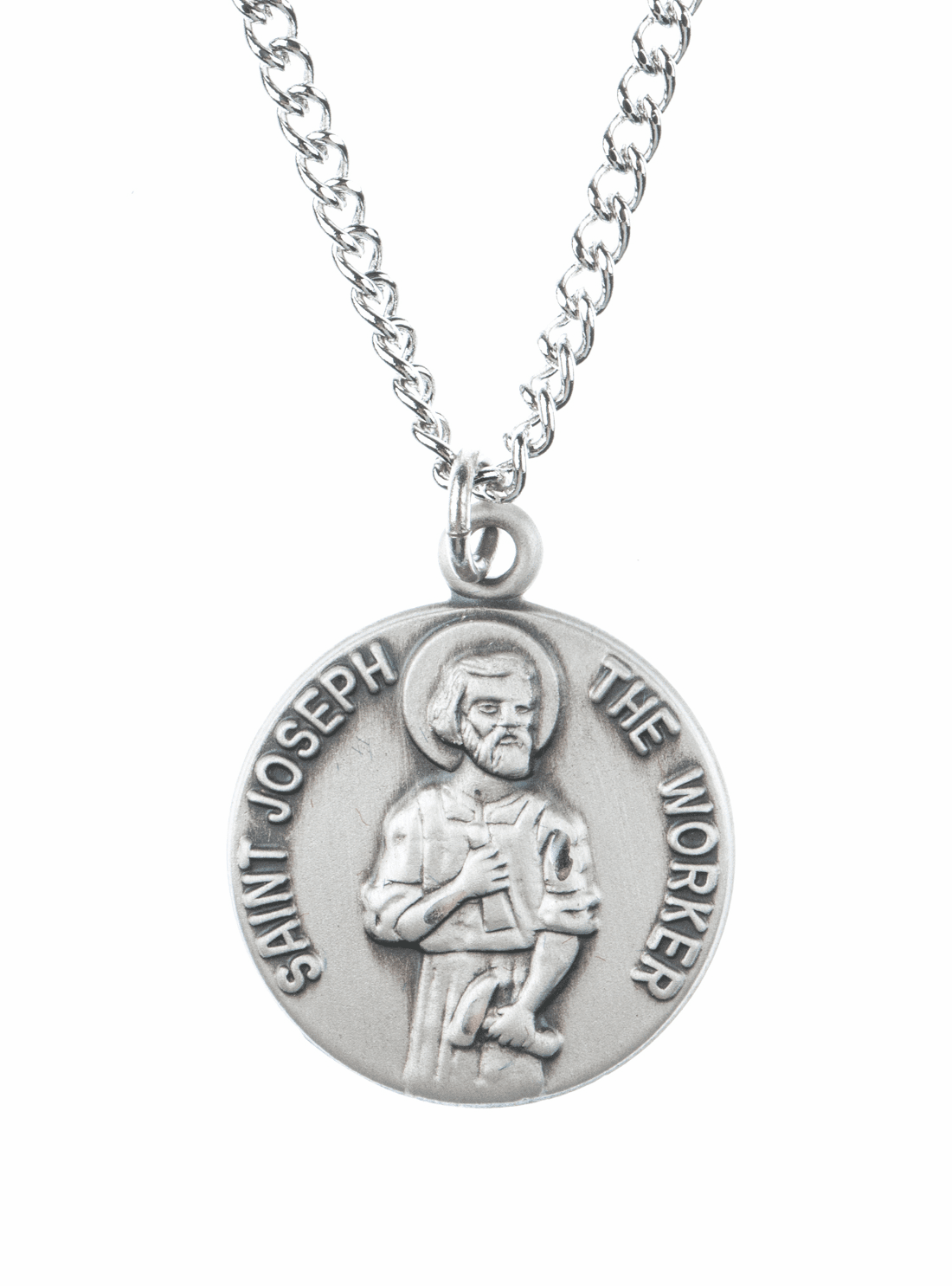 "St Joesph Worker Saint Medal Pendant w/18"" Chain by Jeweled Cross"