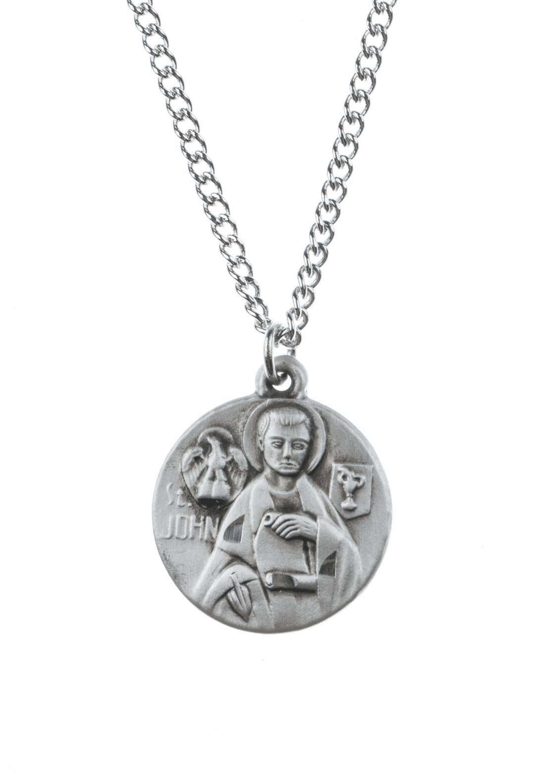 "St John Evangelist Saint Medal Pendant w/18"" Chain by Jeweled Cross"
