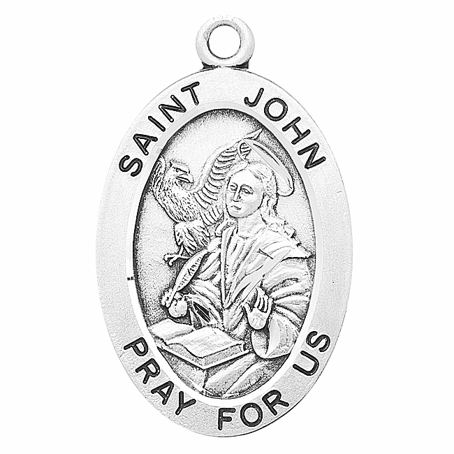 St John Large Oval Sterling Silver Patron Saint Medals by HMH Religious