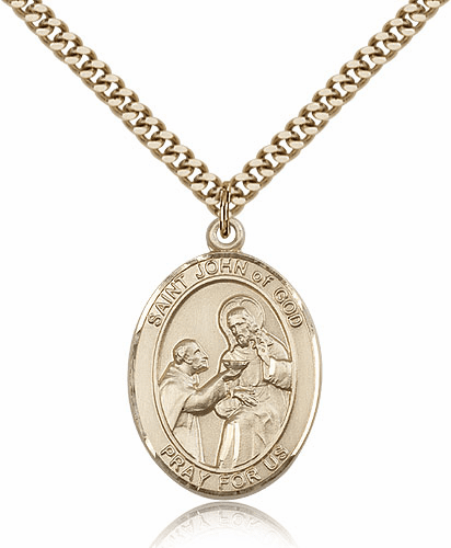 St John of God Patron Saint 14kt Gold-Filled Medal Necklace by Bliss