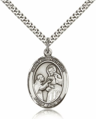 St John of God Sterling Silver Patron Saint Medal Necklace by Bliss