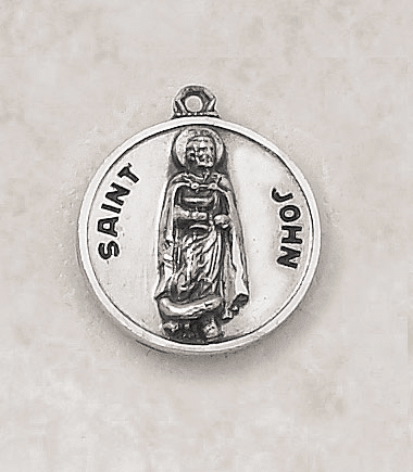 St John Sterling Patron Saint Medal w/Chain by Creed Jewelry