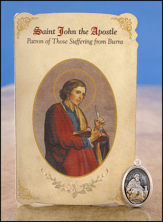 St John the Apostle Burns Healing Holy Cards w/Medals 6 pcs by Milagros
