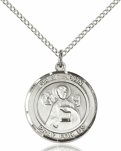 St John the Apostle Medium Patron Saint Sterling Silver Medal by Bliss