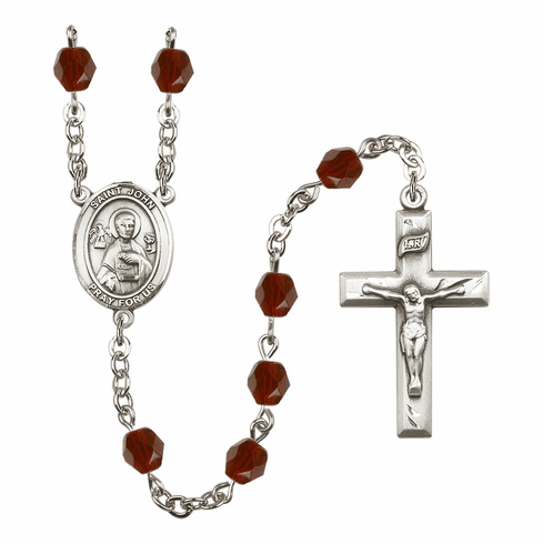 St John the Apostle Birthstone Crystal Prayer Rosary by Bliss - More Colors