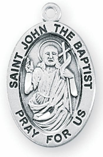 St John The Baptist Large Oval Sterling Silver Patron Saint Medals by HMH Religious
